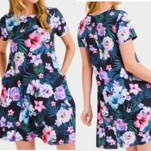 NEW Yelete Flare Dress with Pockets Hibiscus XL